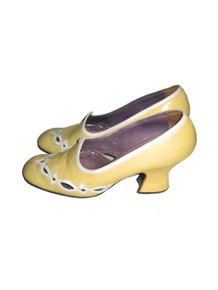 Vintage Jerry Edouard Yellow White Cut Out Chunky High Heel Leather Shoes