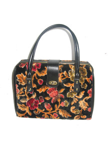 Vintage Absolutely Stunning Rare Multi-Color Gold Black Floral Leaf Print Tapestry Carpet Fabric Vinyl Mod Handbag