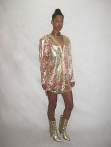 Vintage Lyn Khols Multicolor Metallic Gold Pastel Paint Print Clear Sequins Buttoned Long Sleeve Shoulder Pads Short Tunic Mini Dress
