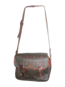 VTG Rare Polo Ralph Lauren Brown Multi Tartan Plaid Canvas Vinyl Leather Fabric Lined Large Multifunctional Tote Crossbody Messenger Handbag