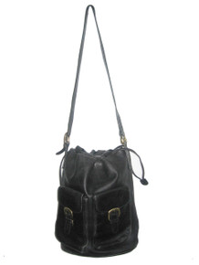 Vintage Designer Palomo Picasso Black Gold Drawstring Adjustable Strap Duffle  Bucket Cross Body Leather Handbag