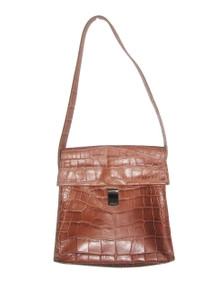 Vintage Furla Made In Italy Brown Embossed Crocodile Leather Flap Closure Signature Lined Kelly Handbag