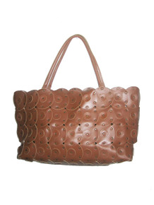 Vintage Rare Zara Brown Circles Studs Large Boho Leather Multi-functional Shoppers Tote Handbag