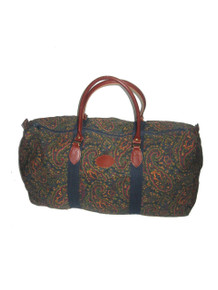 Vintage Gap Multi-color Floral Leaf Paisley Print Canvas Denim Leather Large Multi-functional Duffle Tote Gym Handbag