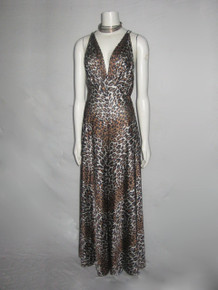 Vintage Vanity Fair Animal Leopard Print Strappy Caged Empire Waist Halter Top Wide Leg Palazzo Disco Jumpsuit