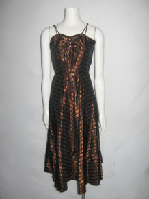 Vintage Bronze Black Mitered Chevron Striped Strappy Shirred Bodice Rhinestone Buttons Taffeta Dress