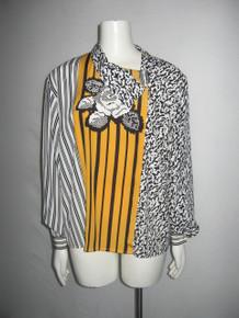 Vintage Serge Mancel Made In France Off Center Buttoned Colorblock Stripe Animal Print Blouse