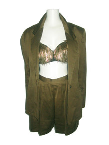 Vintage Anne Klein Olive Green  Cotton Sateen Buttoned Blazer Jacket w/ Matching Pleated Shorts 2pc Outfit Ensemble