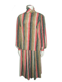 Vintage Anne Klein For New Aspects Multi-color Vertical Stripe Off Center Buttoned Placket Blouse w/ Matching Gathered Skirt 2pc Outfit Ensemble