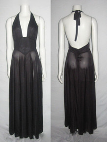 Vintage Stunning Miss Dior Semi Sheer Black Halter Tie Neck Stylized Waistband Disco Grecian Mod Long Flared Dress