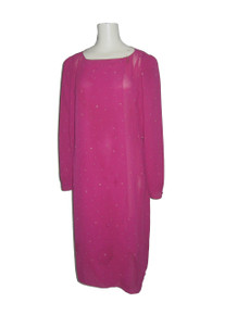 Vintage Jody California Magenta Multi-color Printed Overlap Asymmetrical Overlay Long Disco Wrap Dress