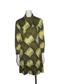 Vintage Rare Mr. Gee Olive Green Yellow Black Multi-color Printed Tie Neck Short Mod Dress