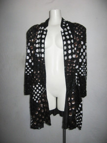 Vintage French Collizioni Polka Dot Sequins Beads Slouchy Oversize Long Sleeve Glam Trophy Jacket Dress