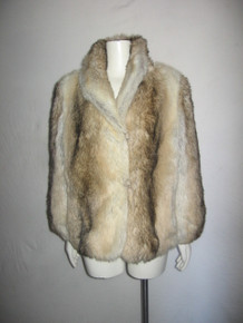 Vintage Sportowne Shawl Collar Long Sleeve Buttoned Lined Short Plush Faux Fur Coat Jacket