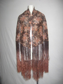 Vintage Multi-color Floral Lace Long Ombre Knotted Fringe Piano Shawl