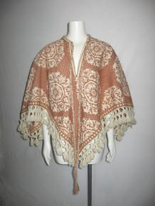 Vintage Rare Large Floral Motif Pattern Heavy Blanket Tie Neck Tassel Knotted Fringe Poncho