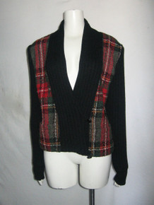 Vintage Alfred Sung Black Multicolor Plaid Rib Stitch Double Breasted  Buttoned Sweater Knit Cardigan
