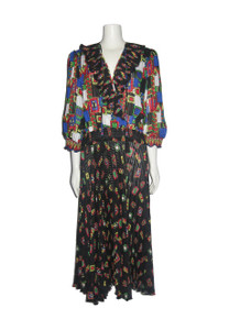 Vintage Montage By Mosaic Multicolor Floral Print Tie Neck Tassel Fringe Pleated Ruffle Bohemian Gypsy Long Dress