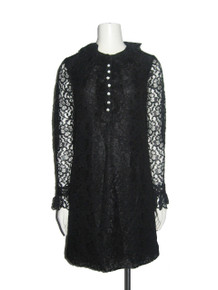 Vintage Rothschild's Black Floral Lace Ruffled Short Mini Mod Dress