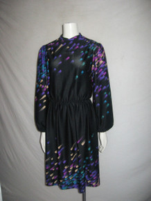 Vintage Tony Rucco For Alper Schwartz Black Multi-color Paint Splash Print Secretary Disco Dress