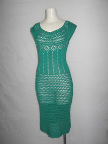 Vintage Green Scoop Neck Extended Cap Sleeve See Thru Crochet Mesh Scallop Edge Panel Jersey Pointelle  Fitted Hippie Boho Knit Dress