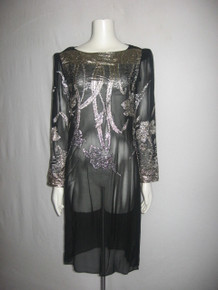 Vintage Nancy Bracoloni For Shangri La Black Metallic Gold Silver Lurex Shimmery See Thru Sheer Dress