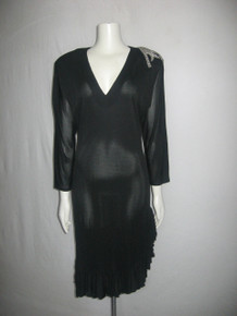 Vintage Zan The Richness That Is Woman Black V-Neck Beads Rhinestones Applique Shoulder Detail Ruffled Slinky Sheer Dress