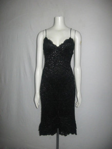 Vintage Betsey Johnson New York Black Metallic Shimmery Lace Strappy High Low Ruffle Tier Dress