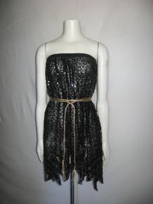 Vintage Black See Thru Sheer Jagged Edge Sequins Beads Rhinestone Jewels Embellish Multi-functional Skirt Tube Top Short Dress
