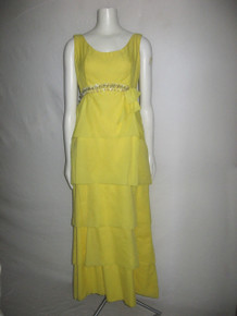 Vintage Yellow Empire Waist Overlay Clear Shell Crystal Glass Beads Embellished Sleeveless Waist Bow Sash Formal Long Gown Dress
