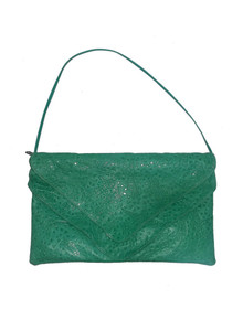 Green Overlay Flap Closure Textured Inlay Vintage Leather Handbag