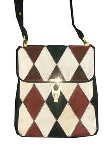 Tano Of Madrid Multicolor Diamond Colorblock Harlequin Vintage Mod Suede Handbag