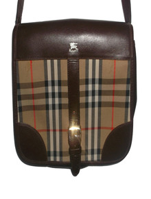 Authentic Burberrys Vintage Nova Check Plaid Brown Leather Crossbody Adjustable Strap Handbag