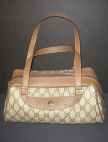Vintage Authentic Gucci Rare Double G Canvas Leather Hobo Double Handle Doctors Crescent Handang