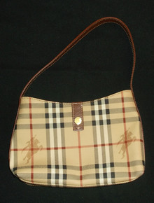 Vintage Authentic Burberry London Nova Check Canvas Brown Leather Hobo Handbag