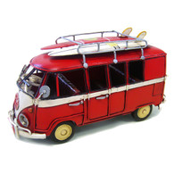 VW Kombi Red with surfboards 21 cm in length.