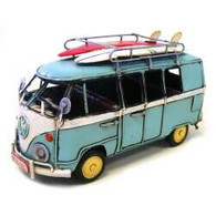 VW Kombi  Light Blue with surfboards 21 cm in length.