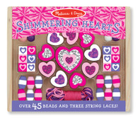 Wooden Shimmering Hearts Bead Set