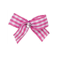 Mini Pink Gingham Dog Hair Bow