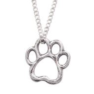 Paw Cut Out Heart Sterling Silver Necklace
