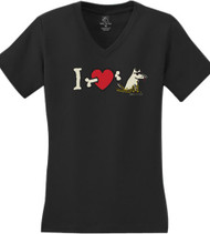 Ladies V Neck Black | I Heart Dogs T-Shirt