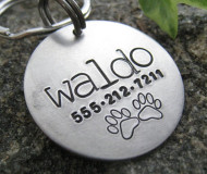Circle Double Paws Hand Stamped Metal ID Tag