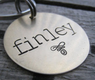 Circle Swirl Hand Stamped Metal ID Tag