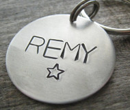 Circle Star Hand Stamped Metal ID Tag