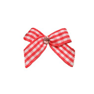 Mini Red Gingham Dog Hair Bow