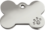 Diamonte Polished Stainless Steel Dog Tag | Bone