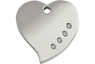 Diamonte Polished Stainless Steel Dog Tag | Heart