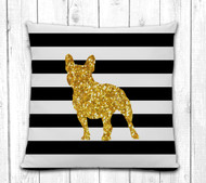 French Bulldog Striped Pillow