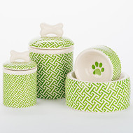Green Trellis Bowl + Treat Jar Set