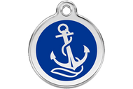 Enamel Dog ID Tag | Dark Blue Anchor